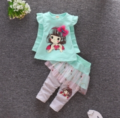 New spring girls long sleeve cartoon suit mesh skirt two-piece