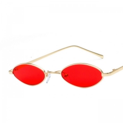 Vintage thin-edged metal water drop oval frame sunglasses 7111