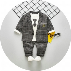 New boys spring long-sleeved suit fashion three-piece suit