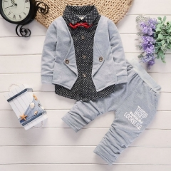 Spring and Autumn new children's casual shirt three-piece set