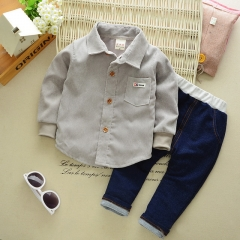 New boys cotton shirt baby jeans set