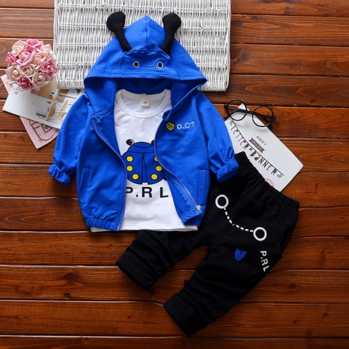 New Korean version of boys and girls cotton long-sleeved clothes three-piece suit