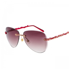 Ladies frameless three-dimensional carved rose retro sunglasses L937