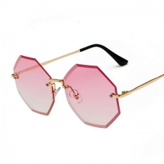 Frameless Polygonal Pink Sunglasses 3372