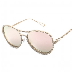 Large frame rhinestone ladies trend flat mirror 9170