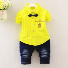 Spring and Autumn Boys Korean Jeans Shirt Casual Set