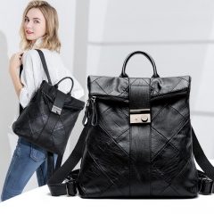 New fashion soft leather stitching backpack female lock backpack portable travel bag