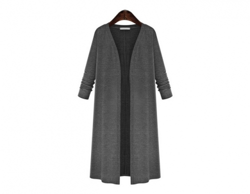 Women's fat MM long cardigan knitted thin coat trench coat