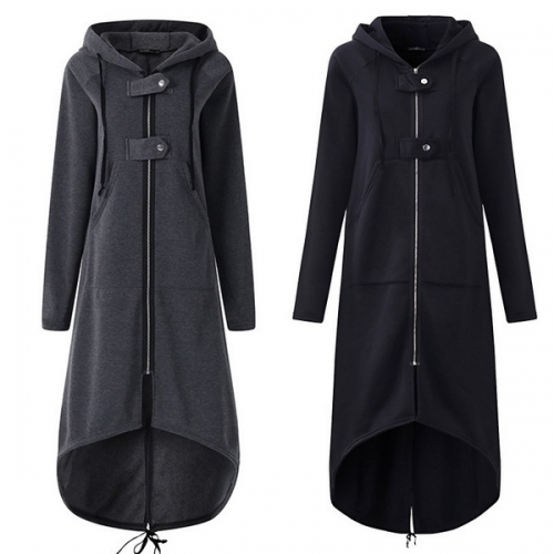 Fleece sweater hooded jacket zipper long trench coat