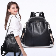 Korean version of the new black soft leather backpack wild casual ladies large-capacity backpack
