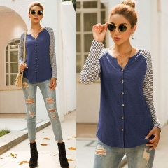 Women's autumn new single-breasted striped stitching T-shirt cardigan