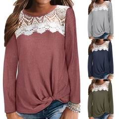 Autumn Women's Lace Panel Waffle Twisted Long Sleeve T-Shirt Top