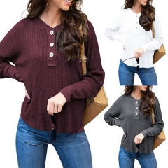 Women's new waffle knit top V-neck loose button T-shirt