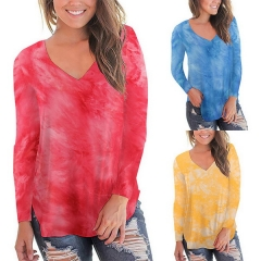 Women's T-shirt Explosion Hot Tie-dye Round Neck Long Sleeve Slim Top