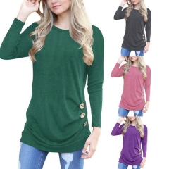 New European and American women's large size explosions round neck rags long sleeve button decorative T-shirt