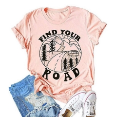 Best selling explosions FIND YOUR ROAD letter printed round neck short-sleeved t-shirt