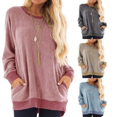 Autumn and winter new round neck color pocket sweater long sleeve pullover sweatshirt casual T-shirt
