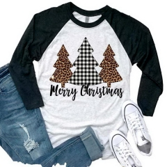Women's Tops Merry Christmas Letter Print Round Neck Cropped Sleeve T-Shirt
