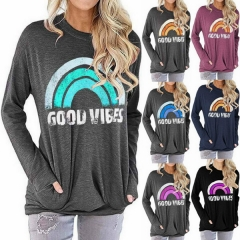 Women's Rainbow Sweater GOOD VIBES Letter Print Loose Round Neck Long Sleeve T-Shirt