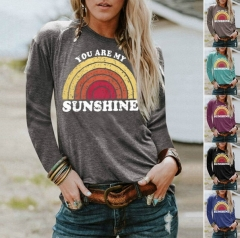 Autumn Explosion You Are My Sunshine Letter Print Round Neck Female Long Sleeve T-Shirt
