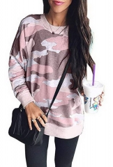 Autumn and winter new camouflage round neck long sleeve pullover casual large size shirt T-shirt