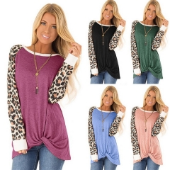 New women's leopard print twisted long-sleeved T-shirt round neck loose top