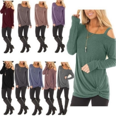 Autumn and winter new best selling single slant shoulder long-sleeved T-shirt slinky top