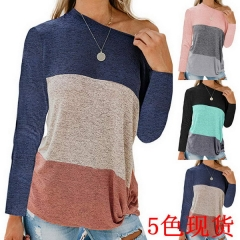 Autumn and winter new women's casual bat sleeve round neck loose color matching kinky shirt T-shirt
