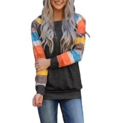 Autumn women's bottoming shirt color striped sleeves color casual round neck long-sleeved t-shirt women