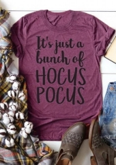 Halloween Women's Tops Hocus Pocus Letter Print Loose Round Neck Short Sleeve T-Shirt