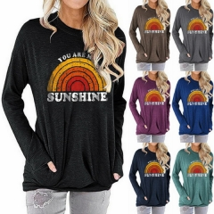 Autumn Explosion Long Sleeve T-Shirt Female You Are My Sunshine Letter Print Loose Sweatshirt