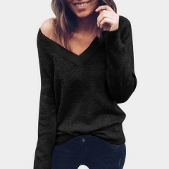 Explosive sweater female European and American knit bottoming shirt V-neck open back sweater