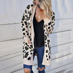 Autumn and winter new women's sweaters European and American fashion three-color leopard sweater cardigan