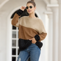 Autumn and winter new European and American fashion striped color matching pullover women's thick sweater