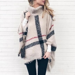 Explosive women's sweater long section high collar tassel cloak shawl loose large size sweater