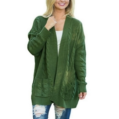Women's sweater European and American women's long section large size double pocket twist knit cardigan