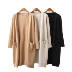 Autumn and winter new European and American style women's sweater double pocket long knit cardigan sweater