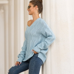 New autumn and winter women's explosions sweater female twist twist v-neck split fork sweater