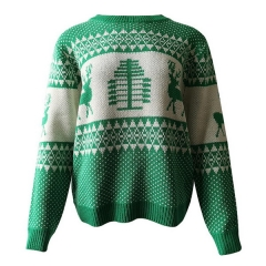 Autumn and winter new Christmas women's sweater geometric elk jacquard sweater