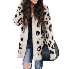Autumn and winter new European and American explosion models sweater women's long leopard cardigan sweater