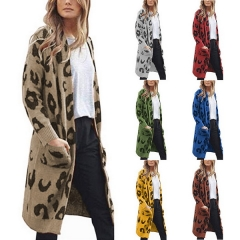 Knitwear Europe and the United States long camouflage leopard cardigan sweater