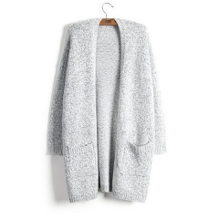 Autumn and winter new sweater cardigan coat female long section long sleeve large pocket sweater