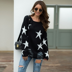 Autumn and winter European and American sweater female five-pointed star big round neck torn hole sweater