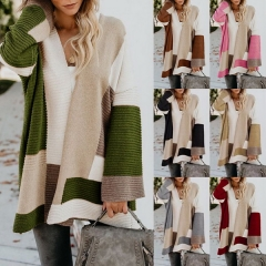 Autumn and winter new sweater female Europe and America large size loose geometric color matching sweater cardigan