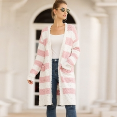Autumn and winter new sweater women's European and American explosions grain velvet striped color matching sweater cardigan