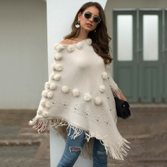 New European and American women's shawl tassel cloak hair ball bead round neck female sweater