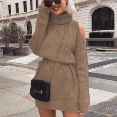 Autumn and winter new sweater women's explosion models in the long paragraph high collar off-the-shoulder sweater dress