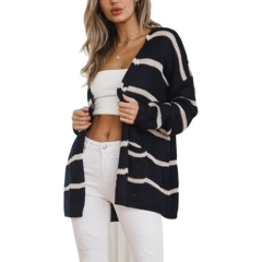 New sweater women's explosions European and American street fashion long striped knit cardigan