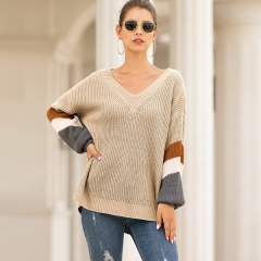 New sweater female autumn and winter chicken heart V-neck lantern sleeves striped color matching sweater