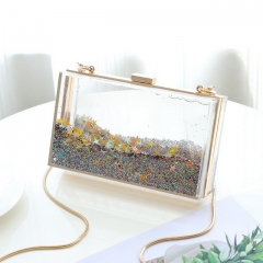 New Acrylic glitter powder bag transparent small square bag